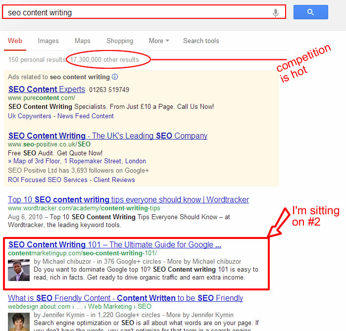 ranking #2 in Google